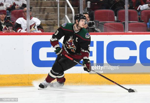 Oliver EkmanLarsson of the Arizona Coyotes skates with the puck against the Buffalo Sabres at Gila River Arena on October 13 2018 in Glendale Arizona
