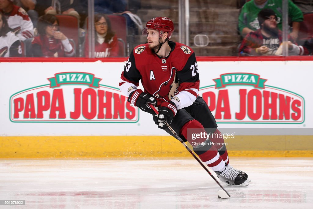 Oliver Ekman-Larsson #23 of the Arizona Coyotes skates with the puck during the second period of the NHL game against the Washington Capitals at Gila River Arena on December 22, 2017 in Glendale, Arizona.