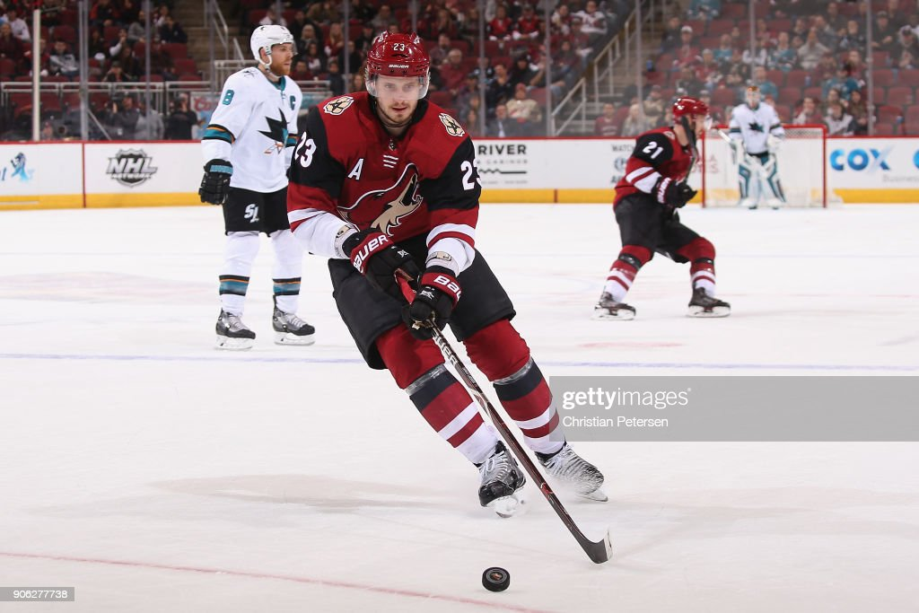 Oliver Ekman-Larsson #23 of the Arizona Coyotes skates with the puck during the third period of the NHL game against the San Jose Sharks at Gila River Arena on January 16, 2018 in Glendale, Arizona. The Sharks defeated the Coyotes 3-2 in an overtime shootout.