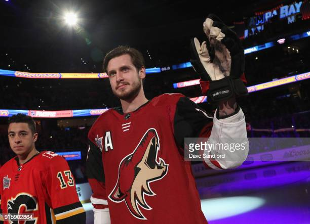 Oliver EkmanLarsson of the Arizona Coyotes stands on the ice before the 2018 GEICO NHL AllStar Skills Competition at Amalie Arena on January 27 2018...