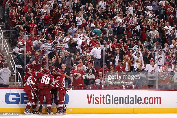 Oliver EkmanLarsson of the Phoenix Coyotes celebrates with teammates after scoring a first period goal against the Anaheim Ducks during the NHL game...