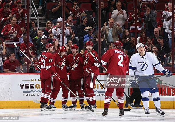 Oliver Ekman-Larsson, Radim Vrbata, Shane Doan, Martin Hanzal and David Rundblad of the Phoenix Coyotes celebrate after Doan scored a third period...