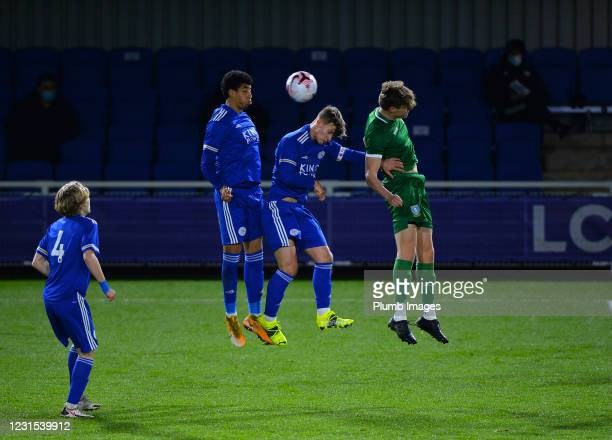 Oliver Ewing of Leicester City and Azeem Abdulai of Leicester City with Alex Bonnington of Sheffield Wednesday during Leicester City v Sheffield...