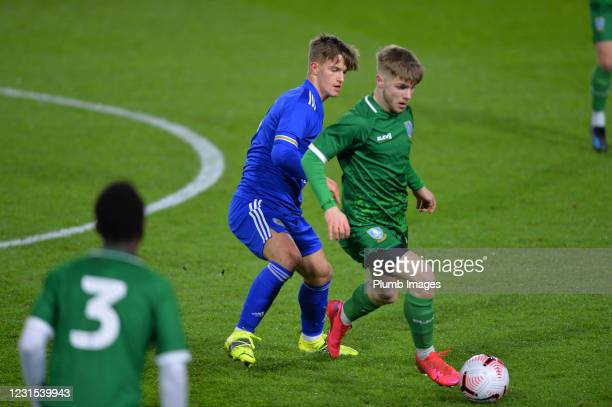 Oliver Ewing of Leicester City with Luke Hall of Sheffield Wednesday during Leicester City v Sheffield Wednesday: FA Youth Cup at Leicester City...