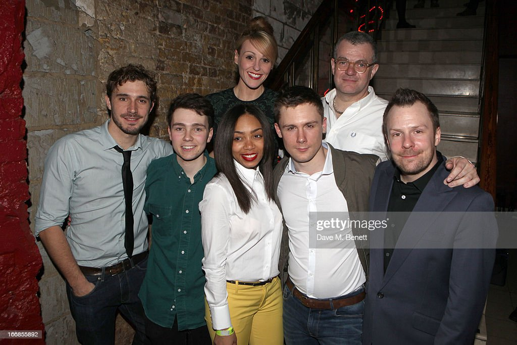 Oliver Farnworth, Jake Davies, Suranne Jones, Zaraah Abrahams, author Jonathan Harvey, Danny-Boy Hatchard and director Nikolai Foster attend the 'Beautiful Thing' press night after party at Salvador and Amanda on April 17, 2013 in London, England.