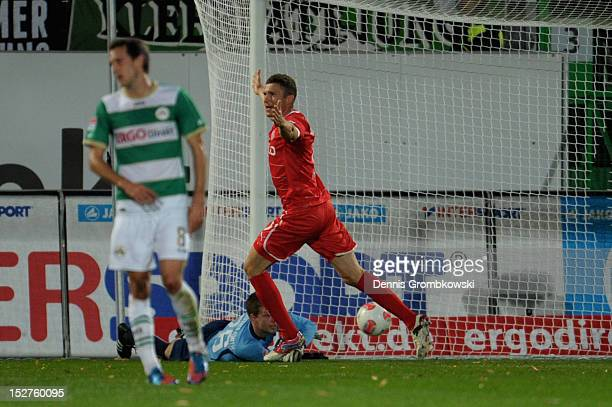 Oliver Fink of Duesseldorf celebrates after scoring his team's first goal during the Bundesliga match between SpVgg Greuther Fuerth and Fortuna...