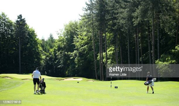 Oliver Fisher, English European Tour professional golfer plays a practice round with Scott Evans, The Centurion, managing director and co-owner at...