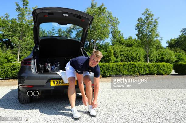 Oliver Fisher English European Tour professional golfer prepares to play a practice round at Centurion Club on May 21 2020 in St Albans England The...