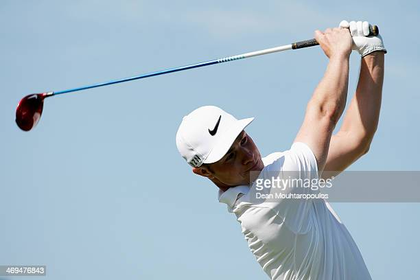 Oliver Fisher of England hits his tee shot on the 16th hole during Day 3 of the Africa Open at East London Golf Club on February 15 2014 in East...