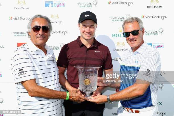 Oliver Fisher of England is awarded with lifetime membership of Dom Pedro Victoria Golf Club after shooting a 59 on day two by Stefano Saviotti and...