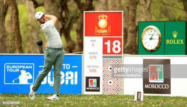 Oliver Fisher of England on the 18th tee during the second round of the Trophee Hassan II at Royal Golf Dar Es Salam on April 20 2018 in Rabat Morocco