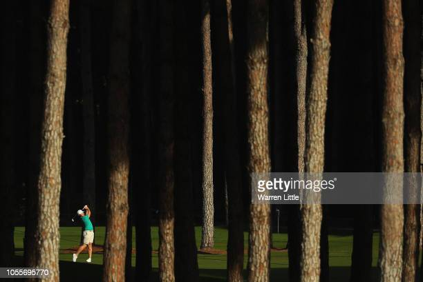 Oliver Fisher of England plays a practice round ahead of the Turkish Airlines Open at the Regnum Carya Golf Spa Resort on October 31 2018 in Antalya...