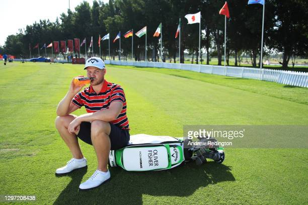 Oliver Fisher of England poses for a portrait during practice ahead of the Abu Dhabi HSBC Championship at Abu Dhabi Golf Club on January 19, 2021 in...