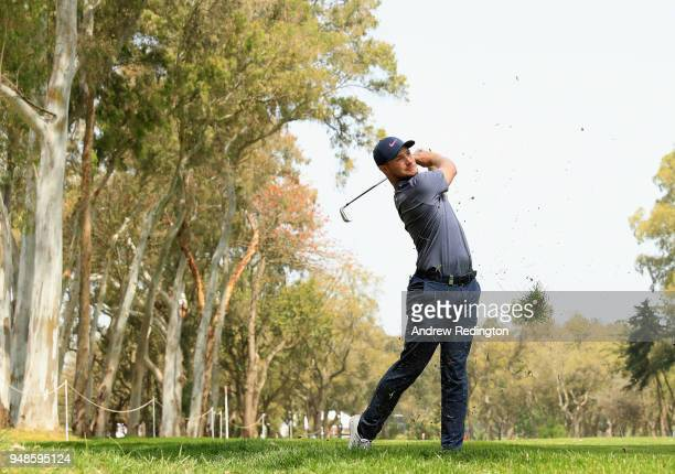 Oliver Fisher of England takes his second shot on the 18th hole during Day One of the Trophee Hassan II at Royal Golf Dar Es Salam on April 19 2018...