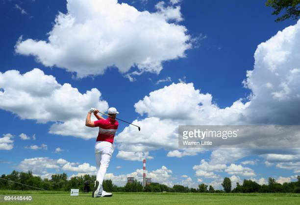 Oliver Fisher of England tees off on the 10th hole during day three of the Lyoness Open at Diamond Country Club on June 10 2017 in Atzenbrugg Austria