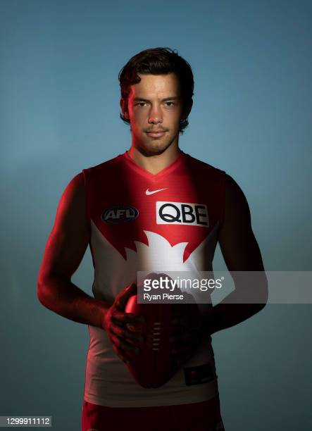 Oliver Florent of the Swans poses during a portrait session at the Sydney Swans 2021 AFL media day at Sydney Cricket Ground on February 02, 2021 in...