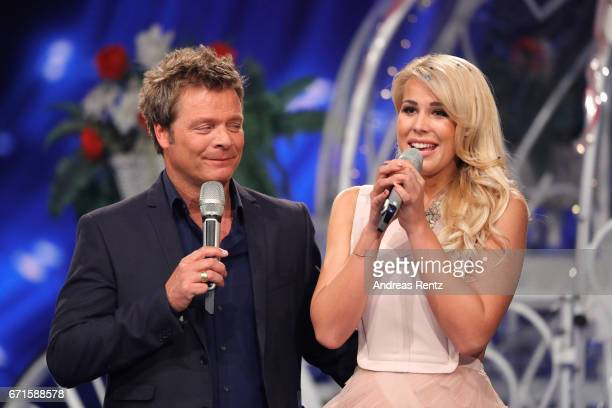 Oliver Geissen and Chanelle Wyrsch during the third event show of the tv competition 'Deutschland sucht den Superstar' at Coloneum on April 22 2017...