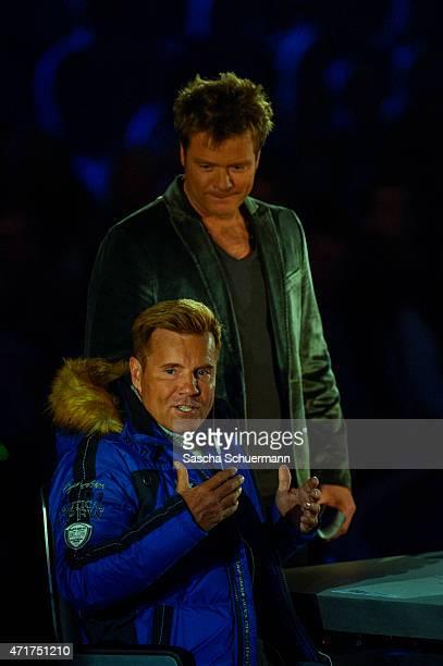 Oliver Geissen and Dieter Bohlen during the 'Deutschland sucht den Superstar' show from Balver Hoehle on April 29 2015 in Balve Germany