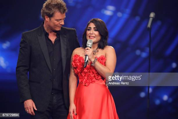 Oliver Geissen and Duygu Goenel during the finals of the tv competition 'Deutschland sucht den Superstar' at Coloneum on May 6 2017 in Cologne Germany