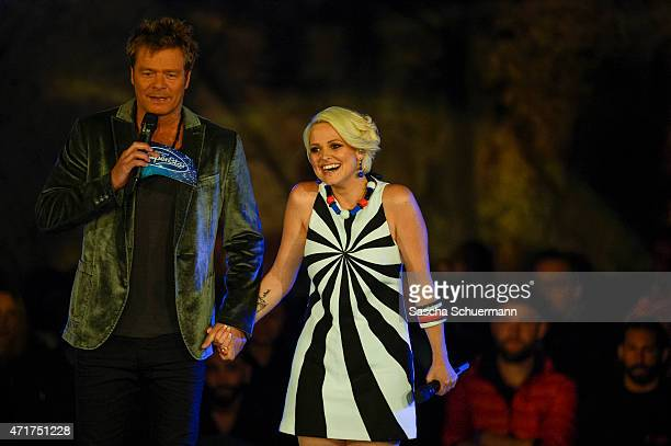 Oliver Geissen and Jeannine Rossi during the 'Deutschland sucht den Superstar' show from Balver Hoehle on April 29 2015 in Balve Germany