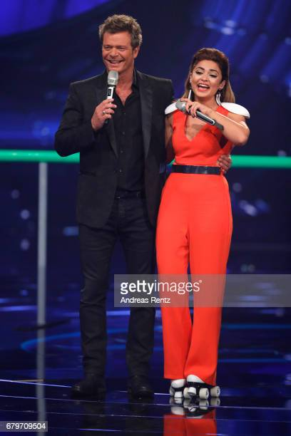 Oliver Geissen and Maria Voskania during the finals of the tv competition 'Deutschland sucht den Superstar' at Coloneum on May 6 2017 in Cologne...