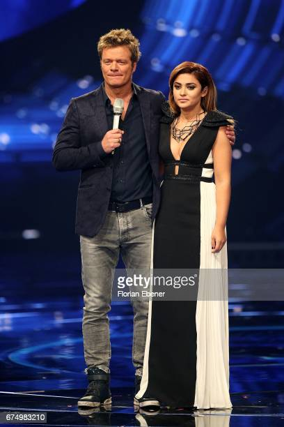 Oliver Geissen and Maria Voskania during the fourth event show and semi finals of the tv competition 'Deutschland sucht den Superstar' at Coloneum on...