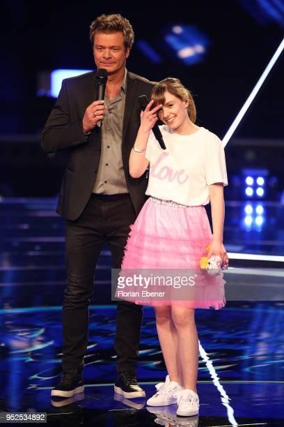 Oliver Geissen and Marie Wegener during the semi finals of the TV competition 'Deutschland sucht den Superstar' at Coloneum on April 28, 2018 in...