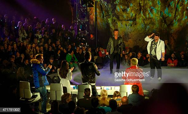 Oliver Geissen and Severino Seeger during the 'Deutschland sucht den Superstar' show from Balver Hoehle on April 29 2015 in Balve Germany