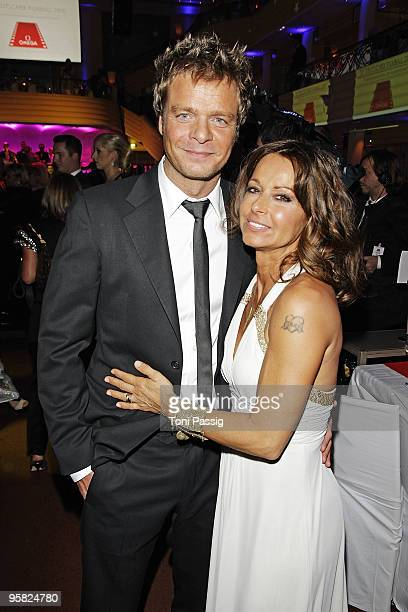 Oliver Geissen and wife Christina Plate attend the 37 th German Filmball 2010 at the hotel Bayrischer Hof on January 16 2010 in Munich Germany