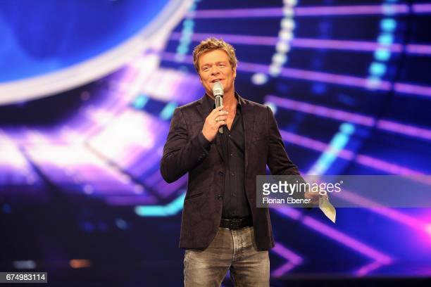 Oliver Geissen during the fourth event show and semi finals of the tv competition 'Deutschland sucht den Superstar' at Coloneum on April 29 2017 in...