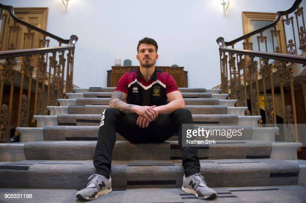 Oliver Gildart of Wigan Warriors poses for a portrait during the Wigan Warriors Media Day at Haigh Hall Hotel on January 15 2018 in Wigan England