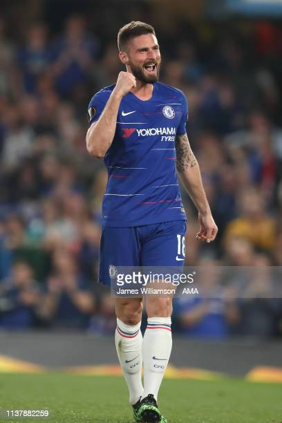 Oliver Giroud of Chelsea celebrates after scoring a goal to make it 30 during the UEFA Europa League Quarter Final Second Leg match between Chelsea...