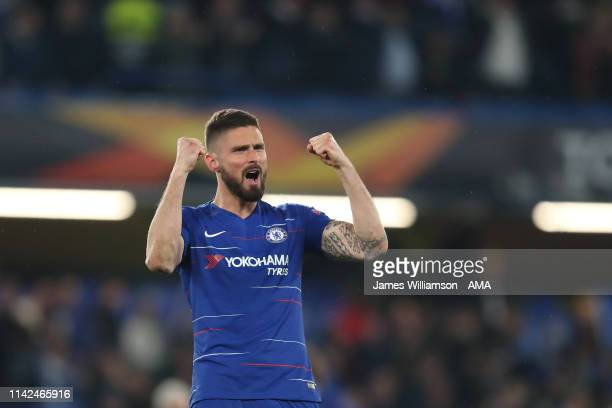 Oliver Giroud of Chelsea celebrates after winning on penalties to secure a spot in the Europa League final during the UEFA Europa League Semi Final...
