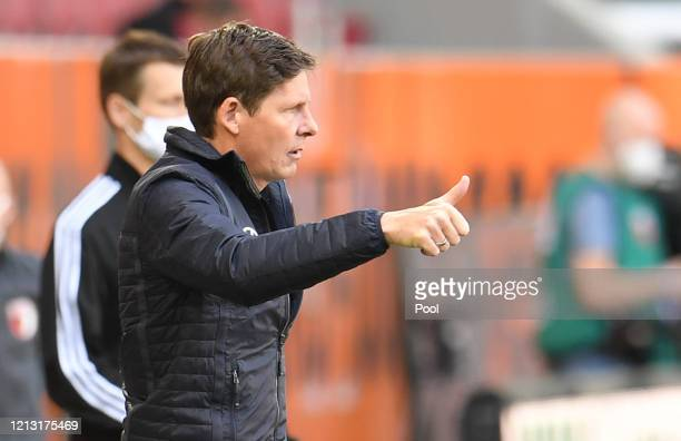Oliver Glasner, Head Coach of VfL Wolfsburg reacts during the Bundesliga match between FC Augsburg and VfL Wolfsburg at WWK-Arena on May 16, 2020 in...