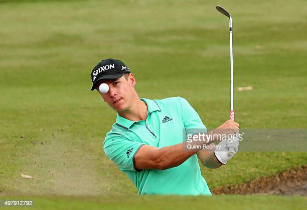 Oliver Goss of Australia plays out of the bunker during day two of the 2015 Australian Masters at Huntingdale Golf Club on November 20, 2015 in...
