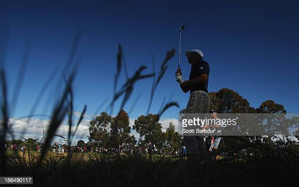 Oliver Goss of Western Australia plays a shot on the 18th hole during day two of the Australian Masters at Kingston Heath Golf Club on November 16,...