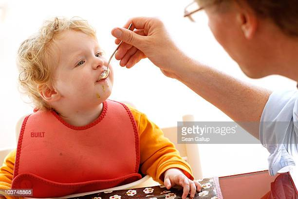 Oliver H. A married federal employee on 6-month paternity leave, feeds his twin 14-month-old daughter Alma lunch at his home on August 31, 2010 in...