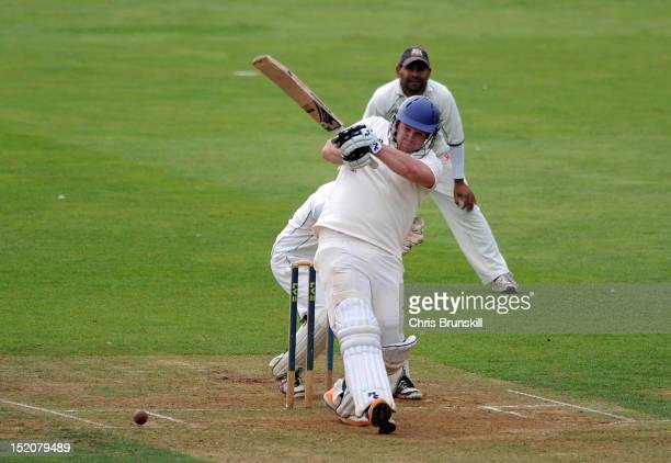 Oliver Hairs of York hits out to the boundary during the Kingfisher Beer Cup Final between York and Wanstead Snaresbrook at The County Ground on...