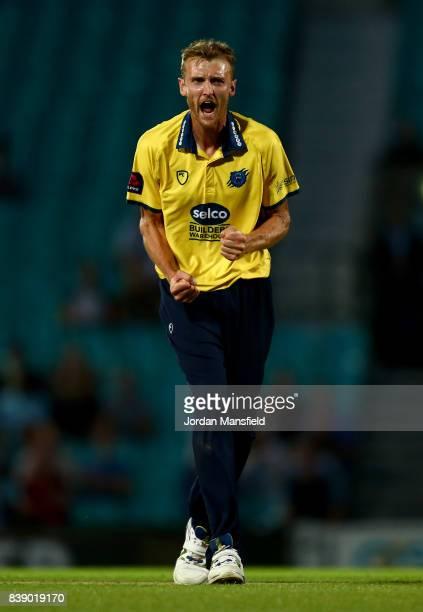 Oliver HannonDalby of Birmingham celebrates dismissing Sam Curran of Surrey during the NatWest T20 Blast QuarterFinal between Surrey and Birmingham...