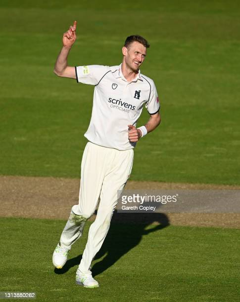 Oliver Hannon-Dalby of Warwickshire celebrates dismissing Ryan ten Doeschate of Essex during the LV= Insurance County Championship match between...