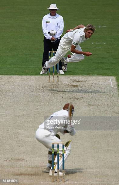 Oliver Hannon-Dalby of Yorkshire bowls during day one of the Liverpool Victoria County Championship Division 1 match between Surrey and Yorkshire at...