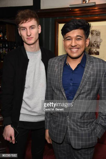Oliver Hardman and Raghav Tibrewal attend the LFWM Official Party Pub LockIn during London Fashion Week Men's January 2018 at The George on January 7...