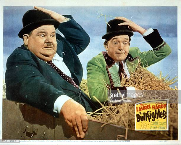 Oliver Hardy and Stan Laurel take a hay ride in movie art from the film 'The Bullfighters' 1945
