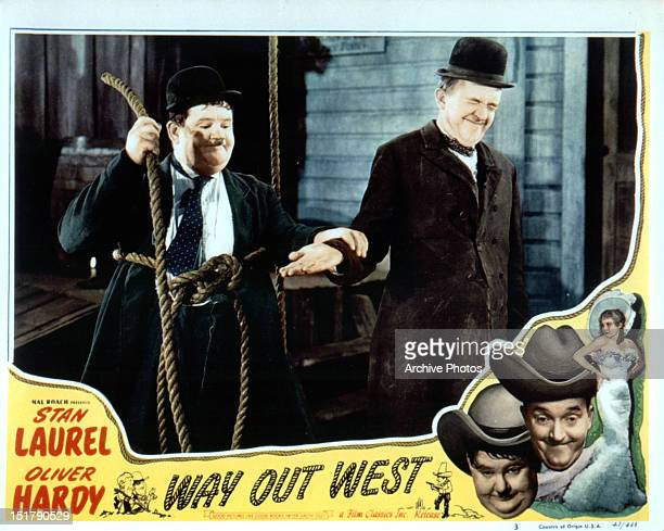 Oliver Hardy Stan Laurel and Sharon Lynn movie art for the film 'Way Out West' 1937