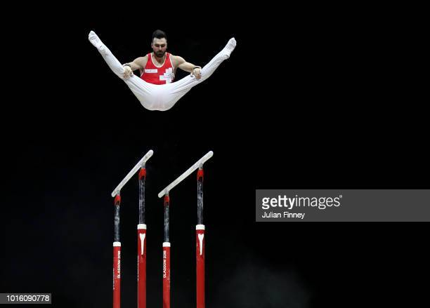 Oliver Hegi of Switzerland competes in Parallel Bars during the Men's Gymnastics Final on Day Eleven of the European Championships Glasgow 2018 at...