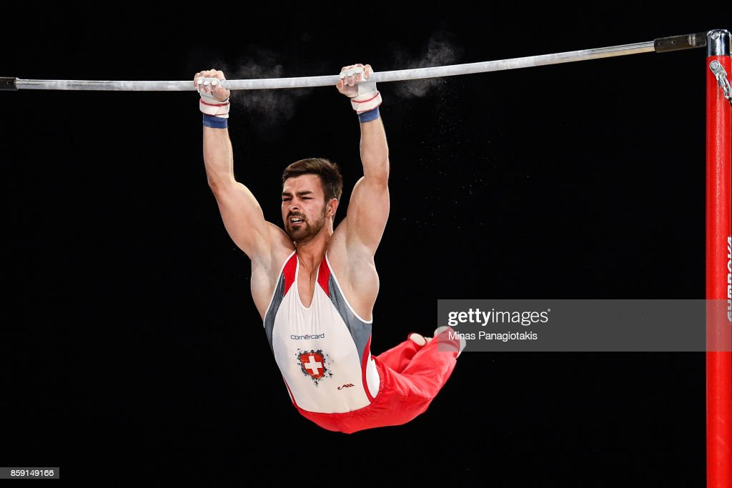 Oliver Hegi of Switzerland competes on the horizontal bar during the individual apparatus finals of the Artistic Gymnastics World Championships on October 8, 2017 at Olympic Stadium in Montreal, Canada.