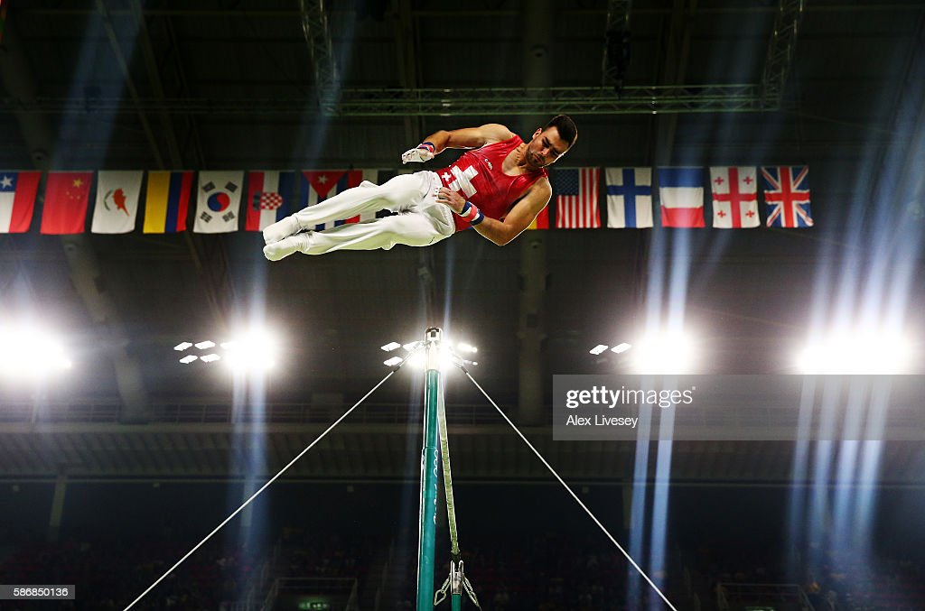 Oliver Hegi of Switzerland competes on the horizontal bar in the Artistic Gymnastics Men's Team qualification on Day 1 of the Rio 2016 Olympic Games at Rio Olympic Arena on August 6, 2016 in Rio de Janeiro, Brazil.