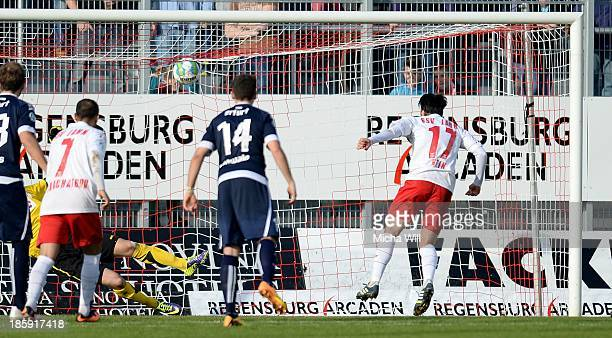 Oliver Hein of Regensburg scores his teams second goal during the Third League match between Jahn Regensburg and Rot-Weiss Erfurt at Jahnstadion on...