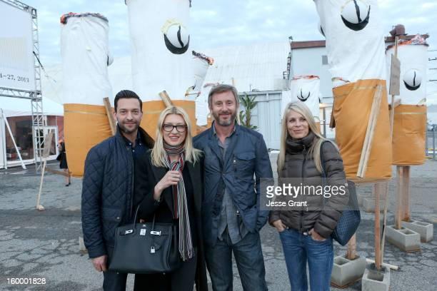 Oliver Hildebrandt, Luana Hildebrandt, Jake Weber and Korri Culberson attend Art Los Angeles Contemporary opening night at Barker Hangar on January...