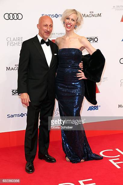Oliver Hirschbiegel and Katja Eichinger during the 44th German Film Ball 2017 arrival at Hotel Bayerischer Hof on January 21 2017 in Munich Germany